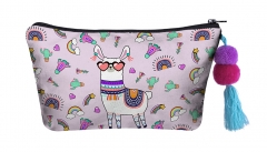 Make up bag with ball llama
