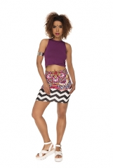 Short skirt  mandala colorfull zigzak