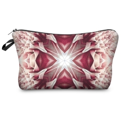 Cosmetic case   symetric pink flower wiz