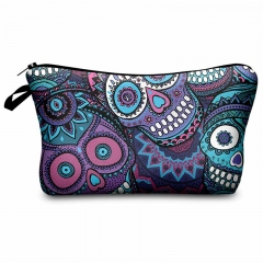 Makeup bag mexican skull violet