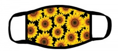 One layer mask  with edge sunflowers with black background