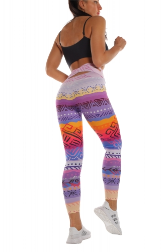 High-waisted  back-waisted cross leggings fire